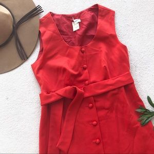Vintage Red Button Down Maxi Dress